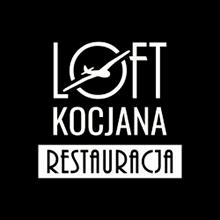 Logotyp Loft Kocjana na ciemnym tle